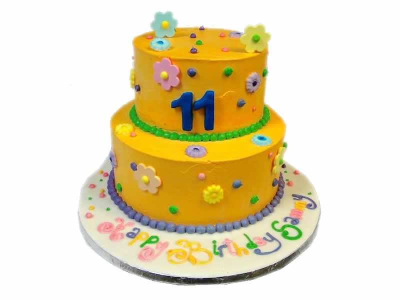 11th Birthday Flowers Cake