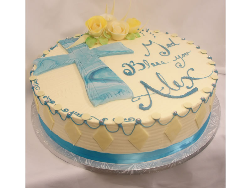 Blue Cross Baptism Cake