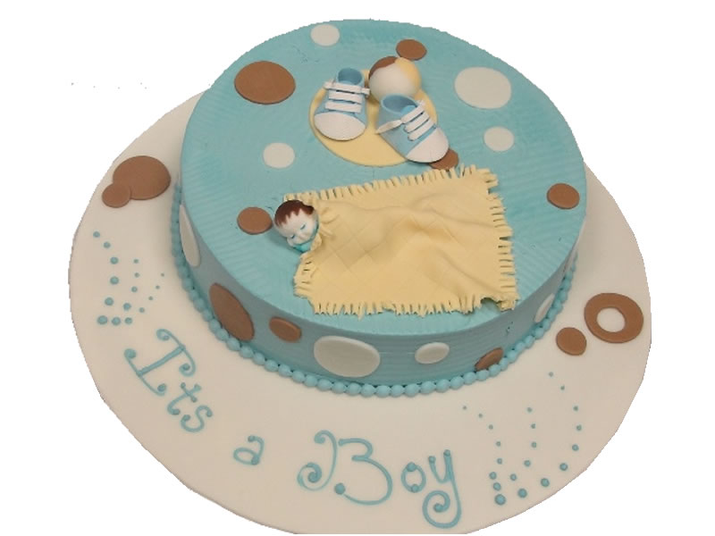 It's A Boy In A Blanket Baby Shower Cake