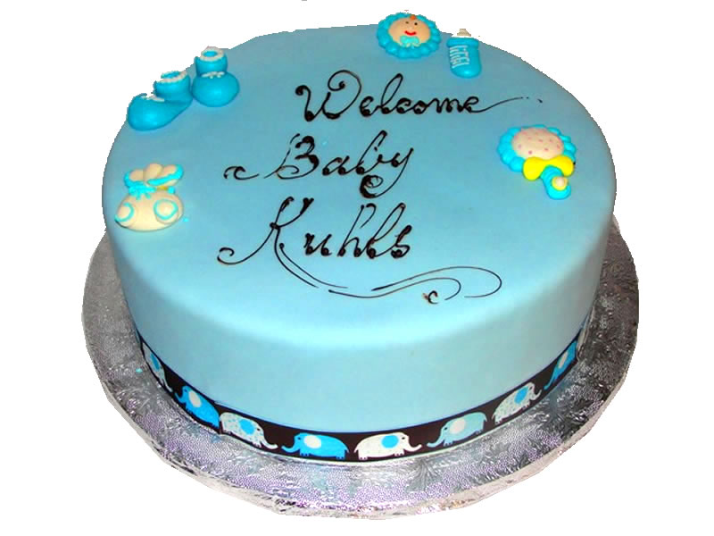 Welcome Baby Blue Baby Shower Cake
