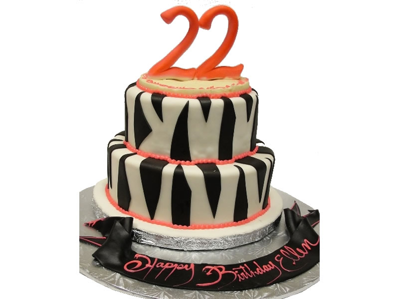 22nd Birthday Zebra Stripes Cake