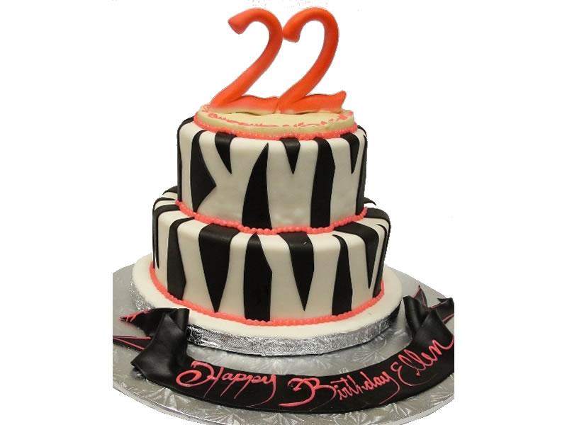 22nd Birthday Zebra Stripes Cake